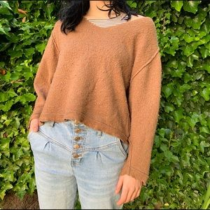 Free People V Neck Boxy Brown Sweater